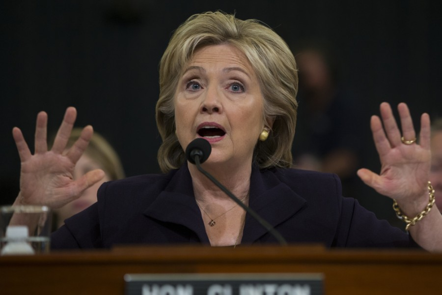 Democratic presidential candidate, former Secretary of State Hillary Rodham Clinton testifies on Capitol Hill in Washington, Thursday, Oct. 22, 2015, before the House Benghazi Committee.  (AP Photo/Carolyn Kaster) ORG XMIT: OTK