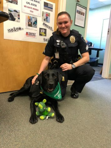 Cpl. Koch kneels next to Murphy with his favorite rhino toy Photo credit: Bella Bonasera