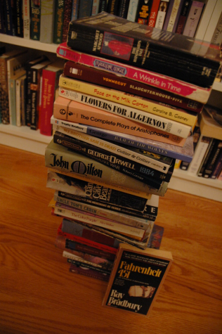 Stack of banned books.  Photo credit:  https://www.flickr.com/photos/ellenw/251895304/in/photostream/