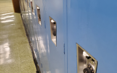 A row of lockers at BFA, which have zip ties preventing students from opening them. Photo credit:  Larissa Hebert