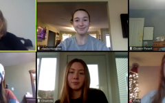 The writers' team meets over Zoom to discuss the final edits of their film script. Top row left to right: Emily Parent (22'), Madi Gagner (23'), and Connor Powell (22'). Bottom row left to right: Rebekah Dalmer (23'), Charlotte Pierce (23') and Emily Farrell (23'). Photo credit: Emily Parent