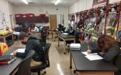Students in Mike Antoniak's Public Safety and Fire Services Class.  Photo credit:  Dino Patsouris