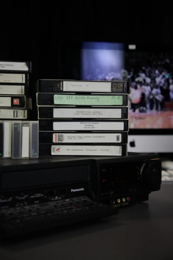 Image of the VHS tape conversion process Photo credit: Dino Patsouris