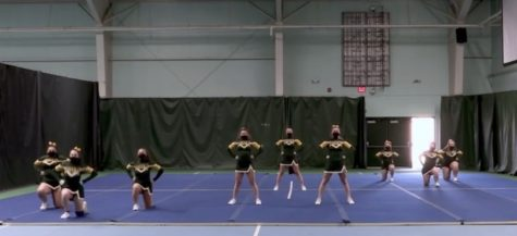 Bellows Free Academy Varsity cheerleading team performing virtually for the 2021 VCCA Competition. Photo credit: Dino Patsouris