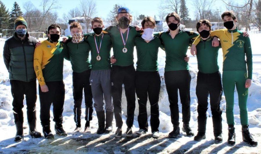 Left to right: Coach Scott Magnan, Chris Cotignola ('21), Porter Hurteau ('24), Jacob Tremblay ('22), Ethan Mashtare ('22), Calvin Storms ('22), Nolan Rochelou ('21), Thomas Curry ('21), Dylan Koval ('21).  Photo credit:  Ethan Mashtare