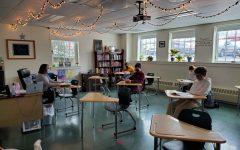 MaryEllen Tourville teaches one of her English classes.  Photo credit:  Larissa Hebert