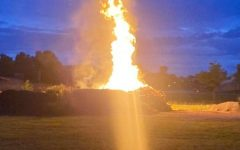 The bonfire at BFA's prom.  Photo credit:  Nate Archambault
