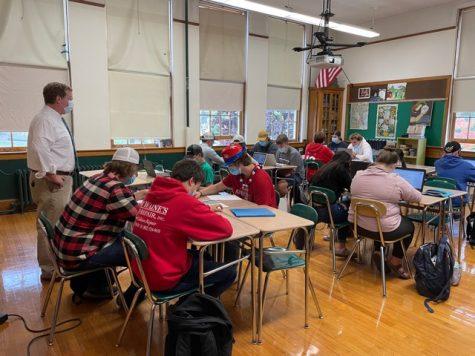 Keith Carlton instructs his Sports Literature class.  Photo credit:  Larissa Hebert